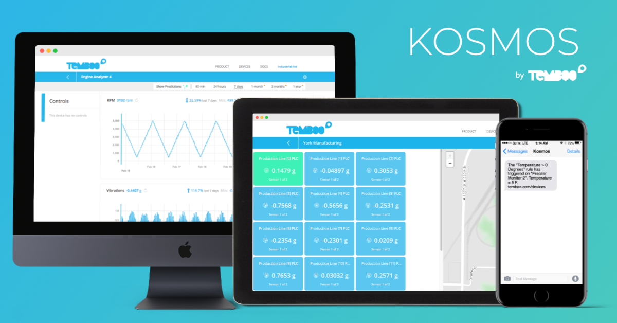Kosmos IoT System on a computer, ipad, and phone